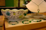 ceramic dishes and jewelry display